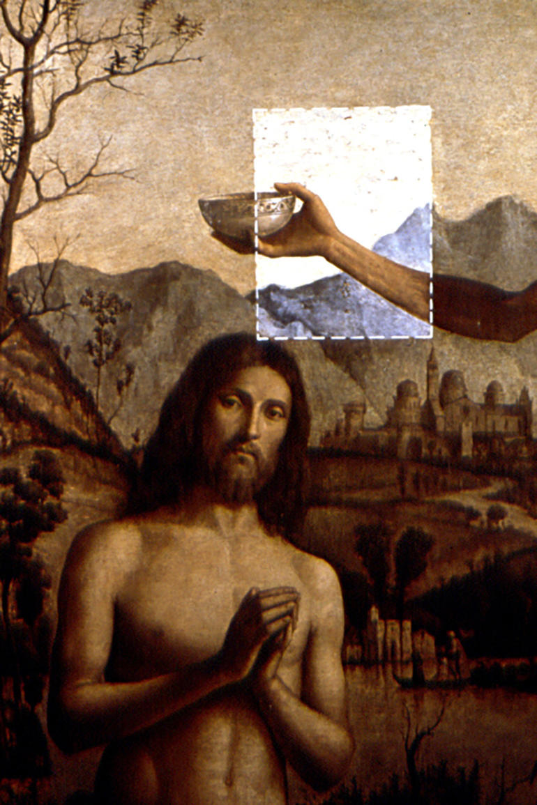 Cima da Conegliano's Baptism of Christ, during conservation, 1989
