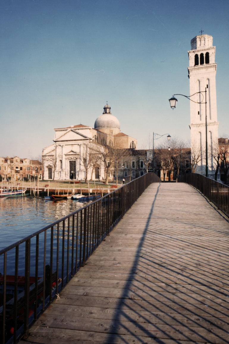 The façade and bell tower of San Pietro di Castello after restoration, 1982