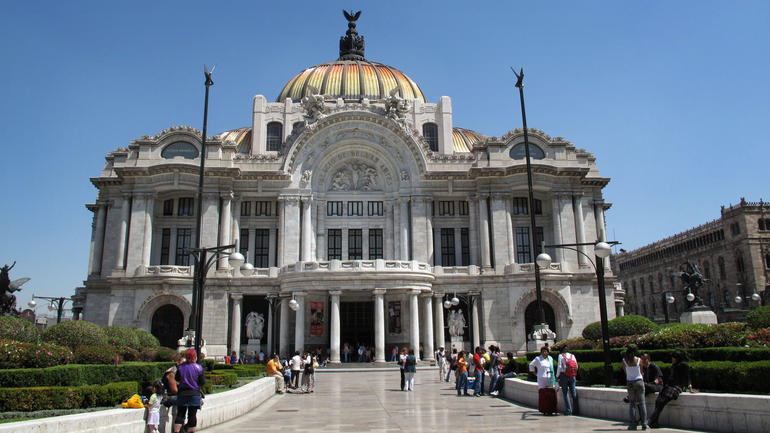Exterior of the Palace of Fine Arts in Mexico City, after conservation.