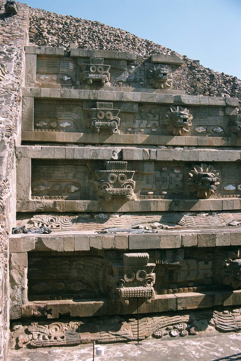 Detail of the astonishing Quetzalcoatl temple at Teotihuacan.