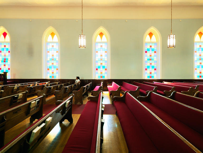 The interior pews of Dexter Avenue King Memorial Baptist Church. Photo by William Abranowicz.