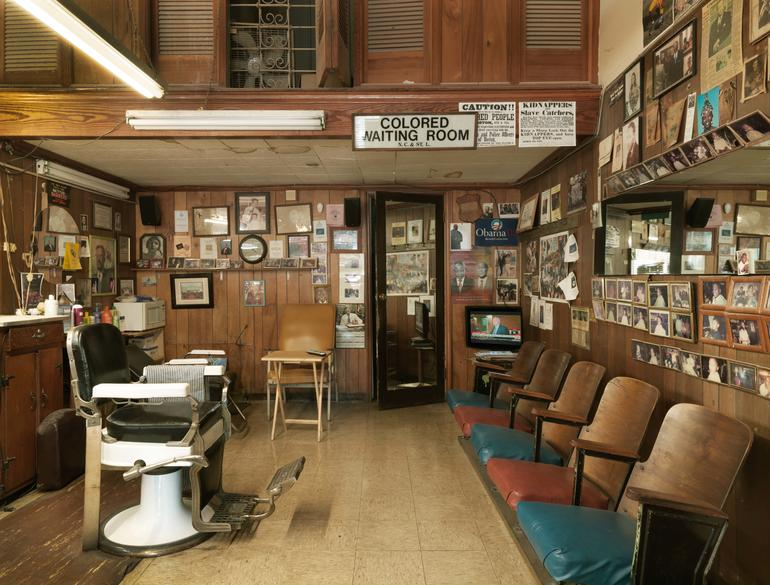 Malden Brothers Barbershop, the only business still operating in the Ben Moore Hotel. Photo by William Abranowicz.