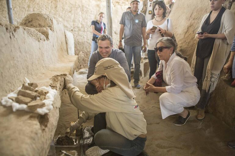 Marta and Peru's Minister of Culture Salvador del Solar during a visit to Tucúme Archaeological Site in 2017.
