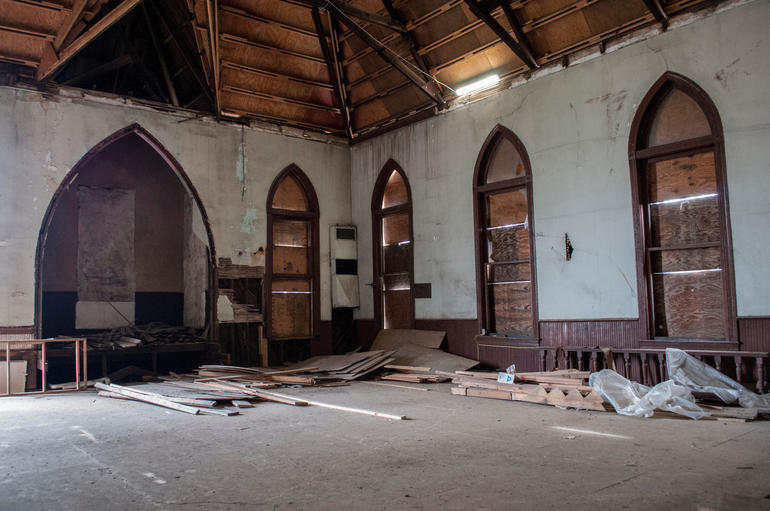 Today's neglected interiors of Mt. Zion AME Zion Church in Montgomery, Alabama. Photo by Billy Brown.