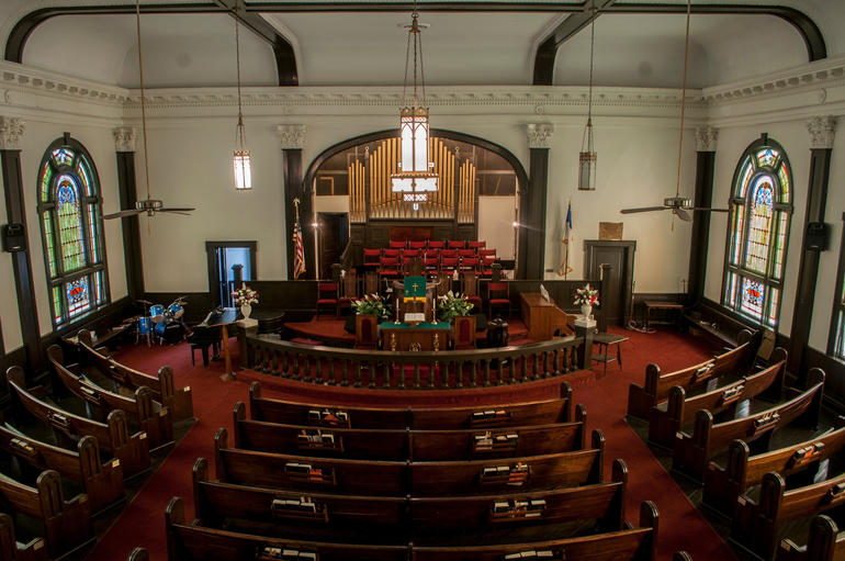 The beautiful interiors of Old Ship AME Zion Church in Montgomery, Alabama. Photo by Billy Brown.