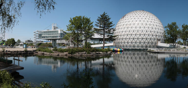 The Ontario Place Cinesphere, Pods, and Lagoon seen from the southwest, 2013.