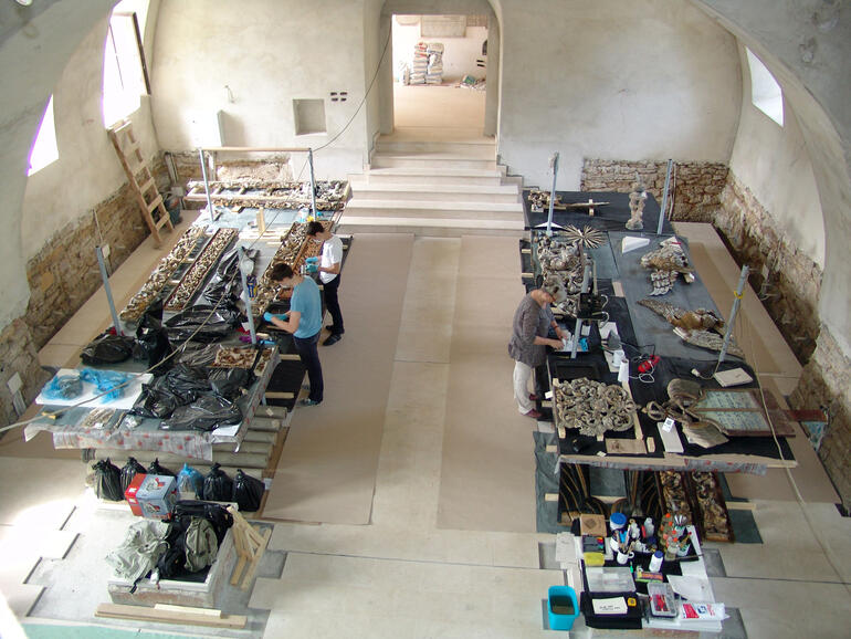 Conservation laboratory set up inside the sanctuary, Great Synagogue of Iasi, Romania