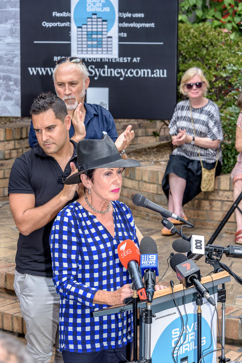 Lord Mayor Clover Moore speaks to reporters in support of the future of the Sirius Building.
