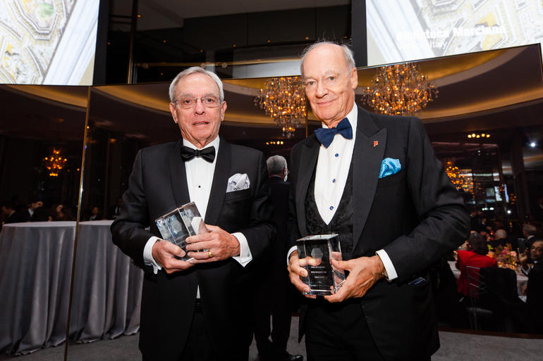 Dr. Eusebio Leal Spengler, left, and Prince Amyn Aga Khan, recipients of the 2018 Hadrian Awards.