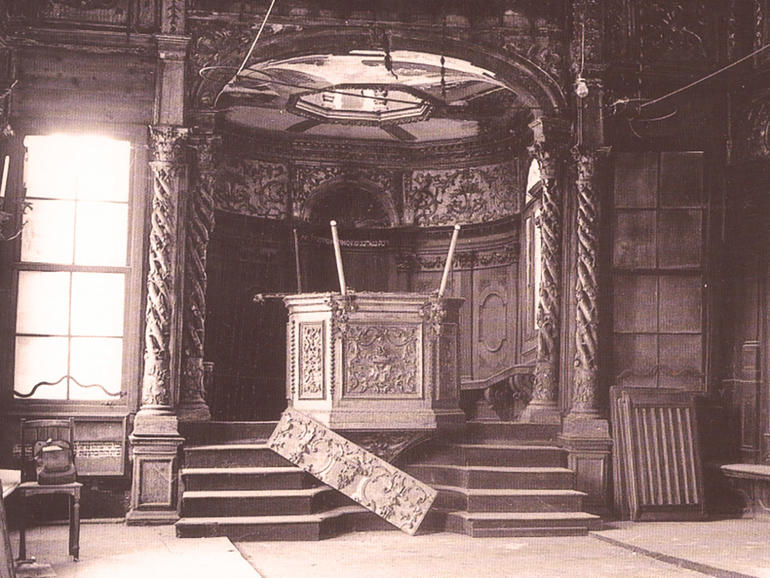 Interior of the Schola Canton before restoration, 1972