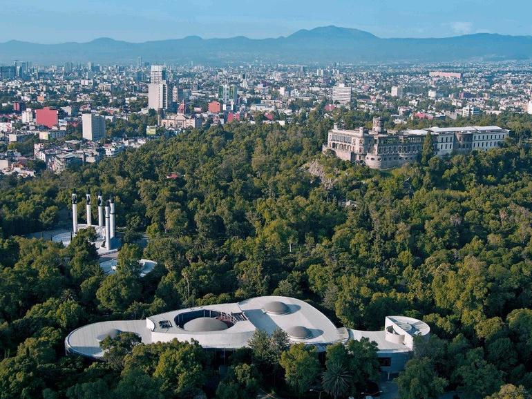 Aerial view of Chapultepec Park, the oldest and largest urban park in the Americas.