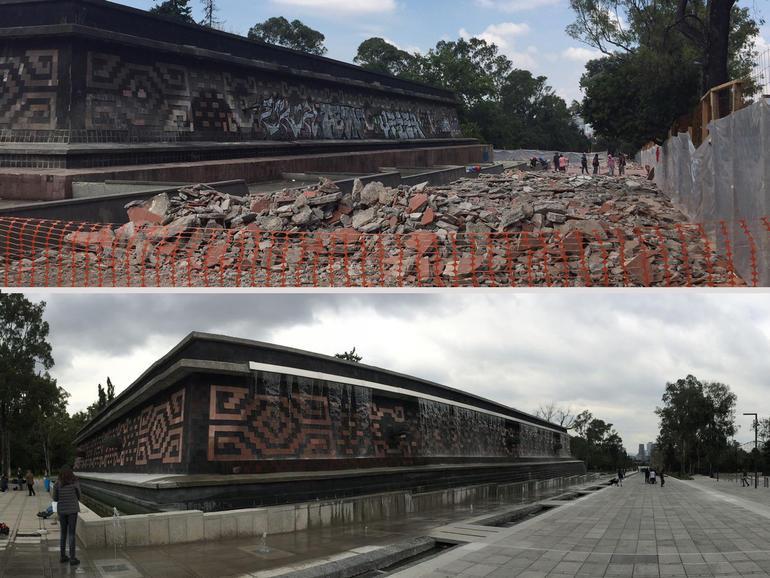 In 2016, Chapultepec Trust restored the Xochipilli fountain, part of the Paseo de los Compositores.