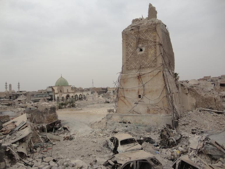 The remains of al-Hadba' Minaret in the old city of Mosul, a 2018 World Monuments Watch site featured on the new Google Arts & Culture platform.