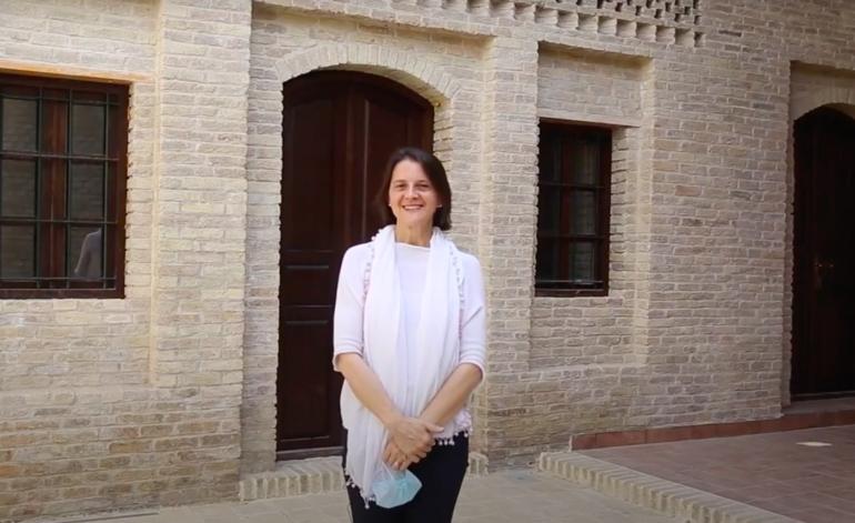 Alessandra Peruzzetto in front of the Heritage Building Complex at Erbil Citadel, Iraq, 2020.
