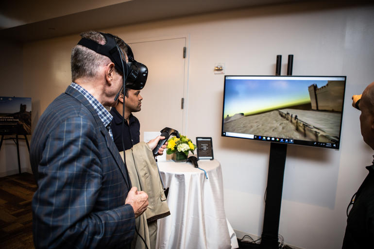 A guest at WMF's launch with Google Arts & Culture explores the new platform in VR.