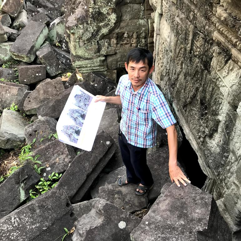 Engineer Phirum Chiv among the ruins at Preah Khan.