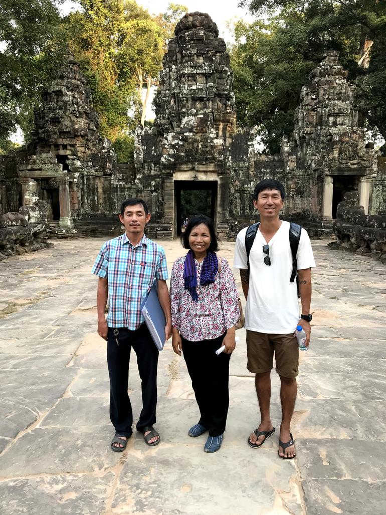 (L to R) Bunwat Hun, Phally Cheam, and Phirum Chiv, in front of Preah Khan, January 2018.