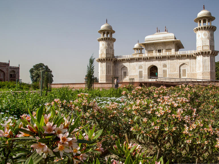 Itimad-ud-Daulah and its garden with newly-planted dwarf Nerium oleander in bloom.