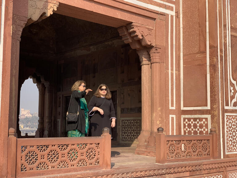Amita Baig, Executive Director of WMF India, with WMF Interim CEO Lisa Ackerman at the Tomb of I'timad-ud-Daulah, 2019.