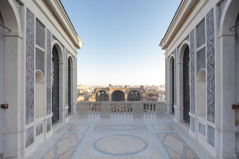 A view of Rome from the restored Farnese Aviaries.