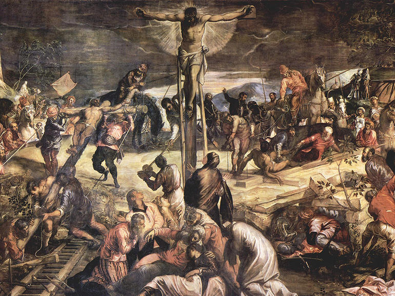 Detail of Tintoretto's Crucifixion during conservation, 1972