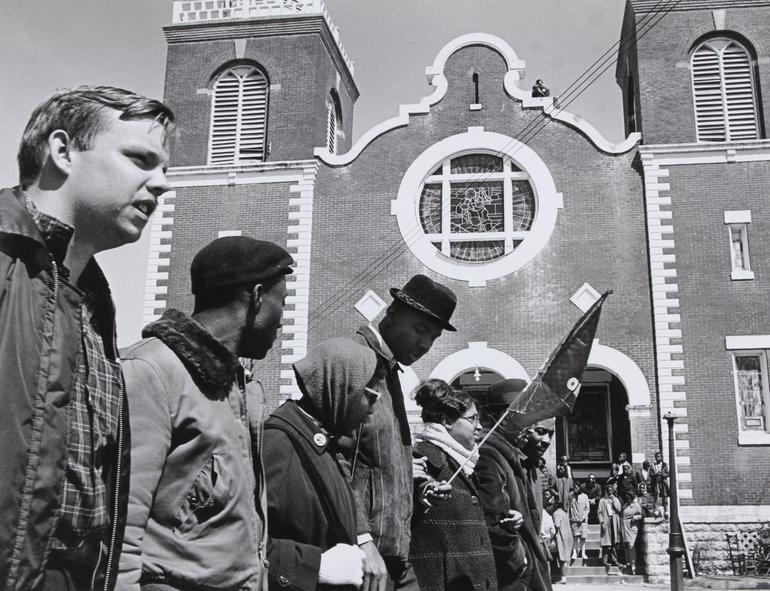 The beginning of the 1965 Selma to Montgomery March at Brown Chapel A.M.E. Church. Photo: James Barker.
