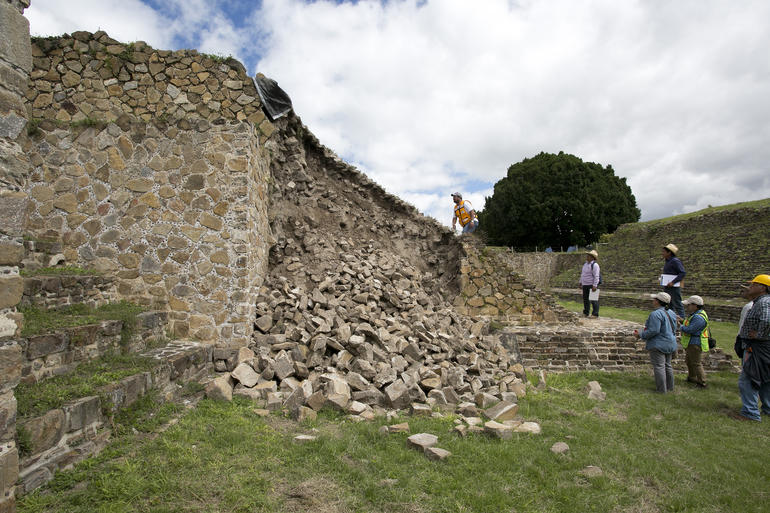 A damaged section of Monte Albán Archaeological Site following a 2017 earthquake.