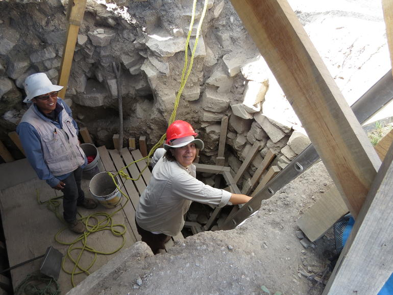 Nelly Robles during site work at Monte Albán.