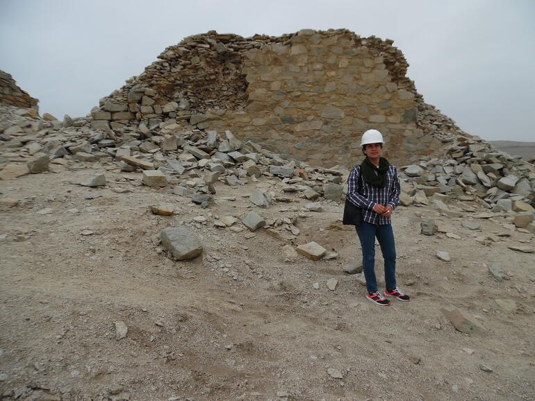 Renata overseeing conservation work at the ancient observatory of Chankillo, 2017.