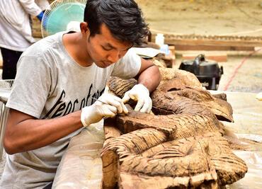 Woodcarvers at Shwe-Nandaw in Myanmar