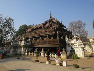 Exterior of Shwe-nandaw Monastery in Mandalay, Myanmar.