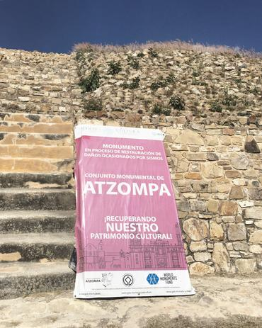 WMF's sign announcing the conservation work in process at Atzoma.
