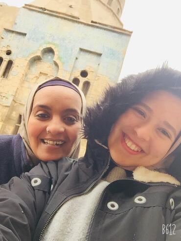 Abear Saed Eledeen, left, and Amira Souliman, right, at Takiyyat Ibrahim al-Gulshani.