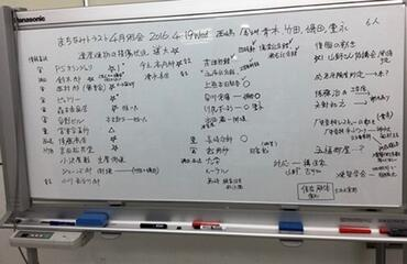 Photo of the whiteboard where KMT recorded the damage done to historic buildings in the days after the earthquake.