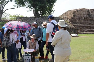 Students learn about new technologies being implemented to restore Monte Albán.
