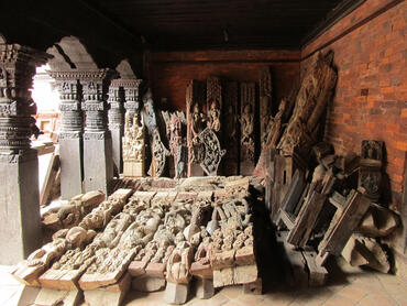 Salvaged pieces from Char Narayan that were integrated into its reconstruction.