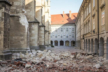 Damage from the recent march 2020 earthquake in Zagreb, Croatia.