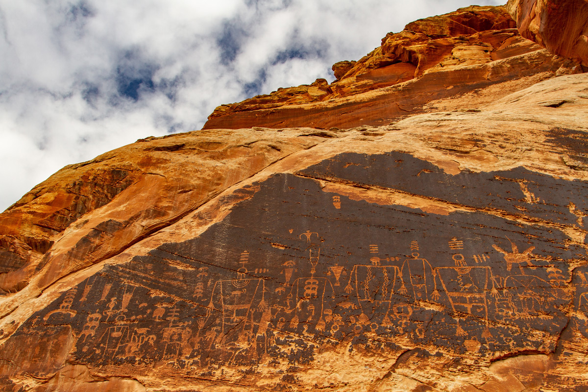 Bears Ears Kachina petroglyph panel