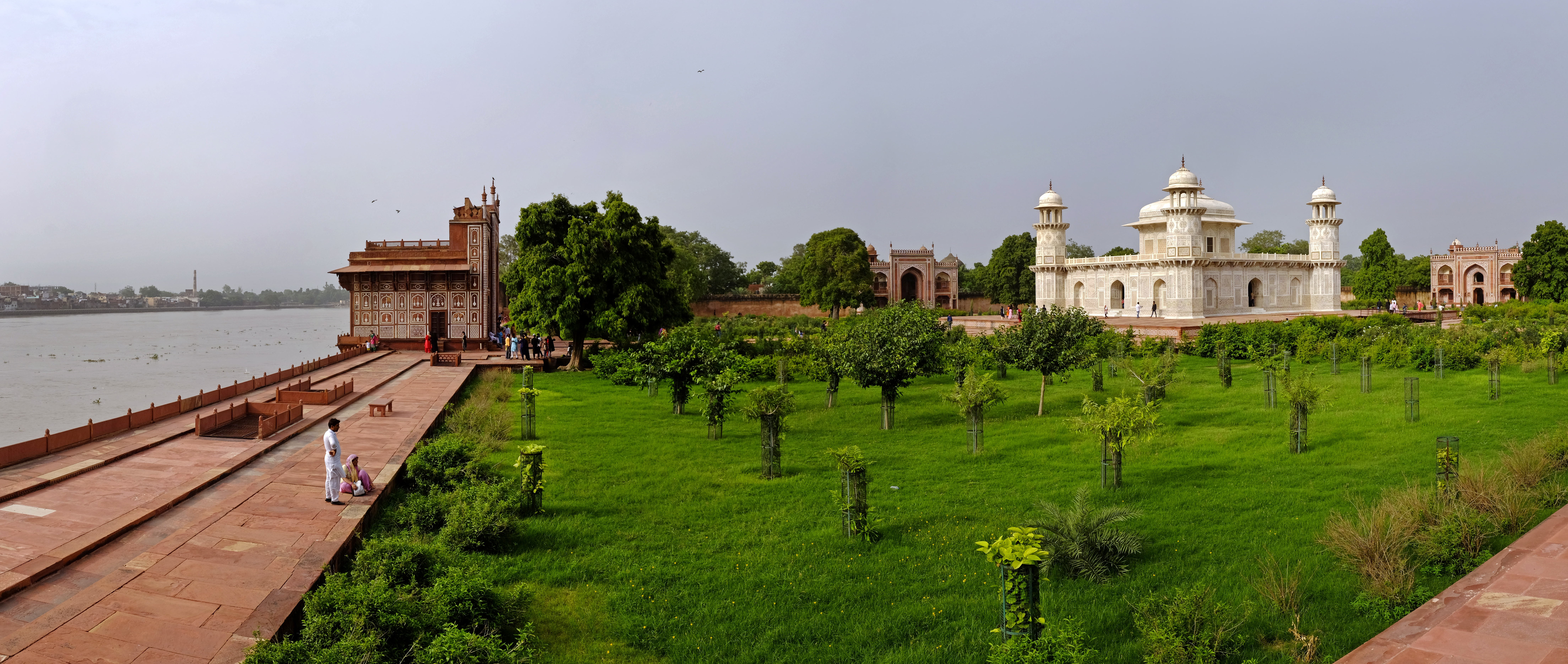 The Garden of the Tomb of I'timad-ud-Daulah as seen along the Yamuna riverfront.